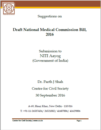 Suggestions on Draft National Medical Commission Bill, 2016